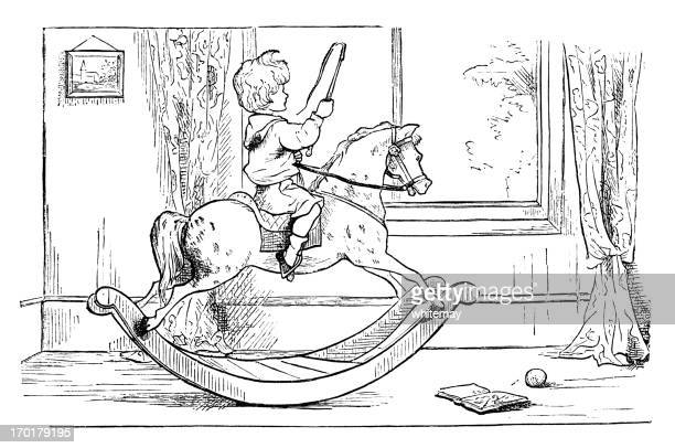 small victorian boy with whip riding a rocking horse - horse family stock illustrations, clip art, cartoons, & icons