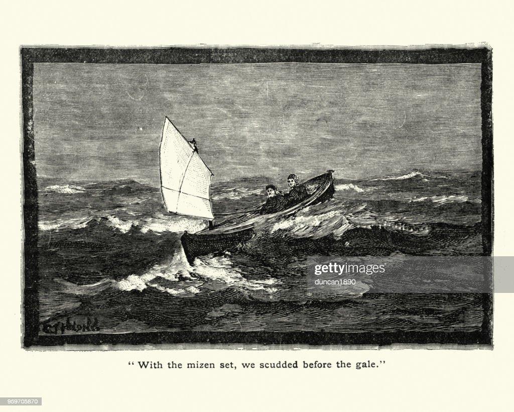 Kleinen viktorianischen Segelboot, 19. Jahrhundert : Stock-Illustration