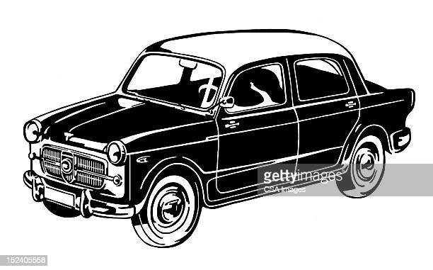 small vintage car - compact car stock illustrations, clip art, cartoons, & icons