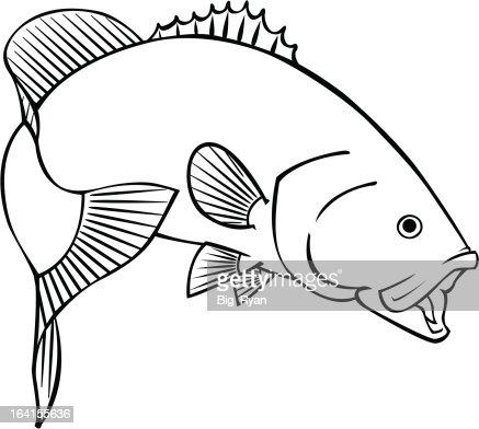 Large Mouth Bass Vector Art