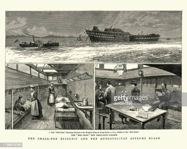 smallpox epidemic, hospital ships transporting patients to long reach, 1884 - epidemic stock illustrations