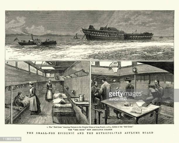 stockillustraties, clipart, cartoons en iconen met de epidemie van pokken, ziekenhuis schepen die patiënten vervoeren aan lang bereik, 1884 - epidemic