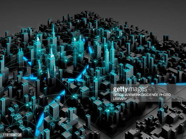 smart city, conceptual illustration - 3d点のイラスト素材/クリップアート素材/マンガ素材/アイコン素材