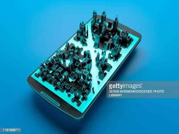 smart city, conceptual illustration - mobile app stock illustrations