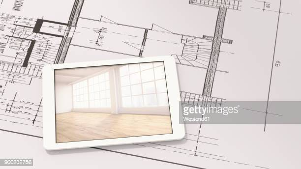 smart home app on digital tablet - automated stock illustrations