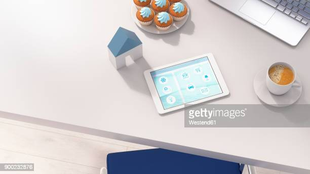 Smart home app on digital tablet in office