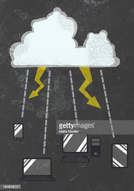 smart phone, laptop, desktop pc and digital table connected to a cloud with lightening - touch sensitive stock illustrations