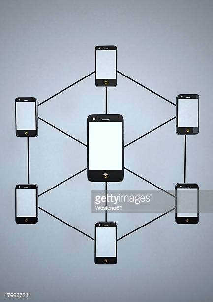 smartphone network against grey background - social media stock illustrations