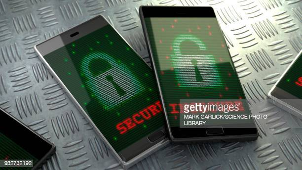 smartphone security, conceptual illustration - identity theft stock illustrations