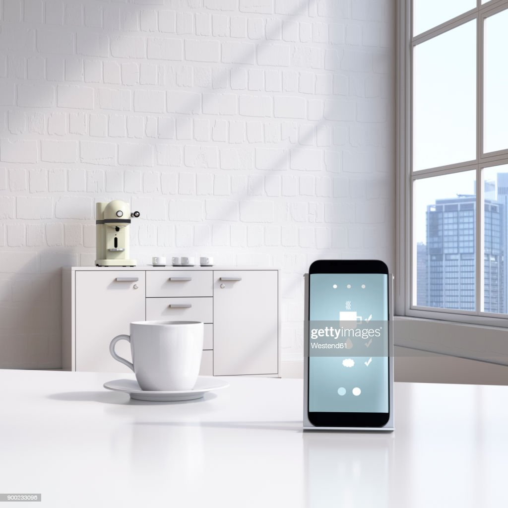 Smartphone with coffeemaker app on charging station : stock illustration