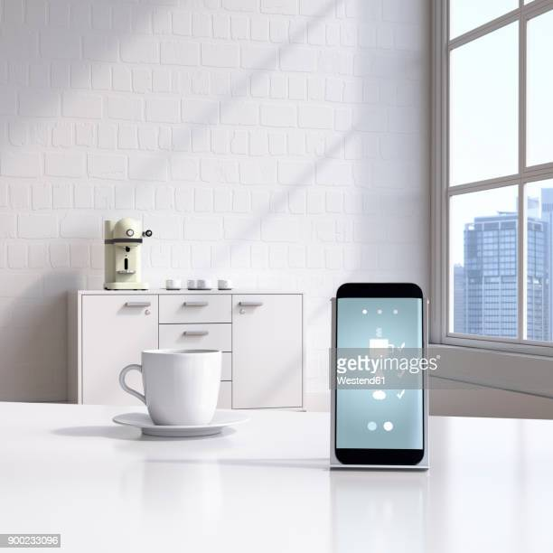 smartphone with coffeemaker app on charging station - automated stock illustrations