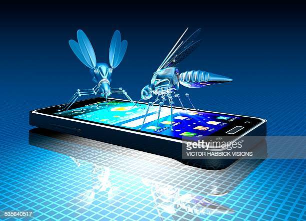 smartphone with nano bugs, artwork - threats stock illustrations