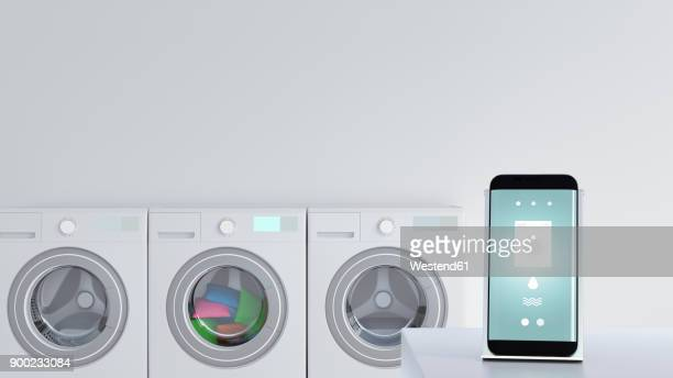 smartphone with washing app on charging station - bathroom stock illustrations