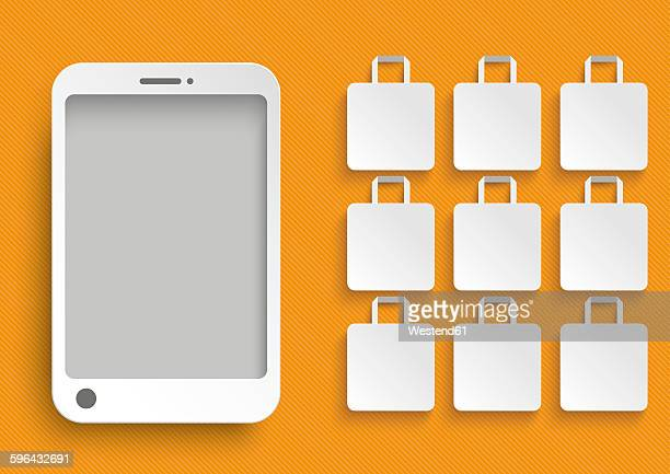 smartphone with white shopping bags against orange background, illustration - mobile app stock illustrations