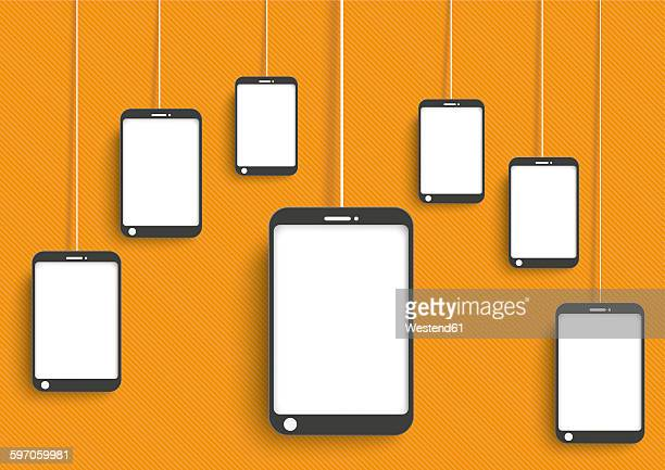 Smartphones dangling on orange background, vector graphics