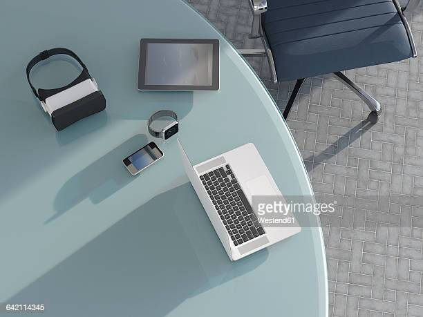 smartwatch, virtual reality glasses, laptop, tablet-pc and mobile phone on desk - smart watch stock illustrations