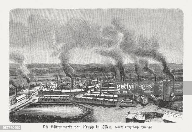 smelting works of krupp, essen, germany, wood engraving, published 1897 - industrial revolution stock illustrations