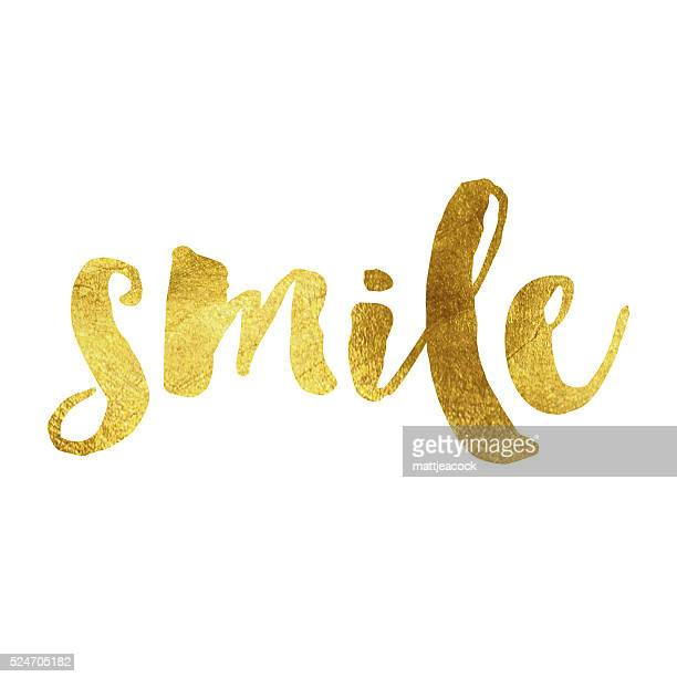 smile gold foil message - joy stock illustrations