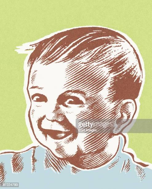 smiling baby boy - toddler stock illustrations
