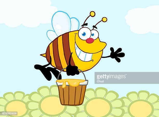 smiling bee flying with a honey bucket - queen bee stock illustrations