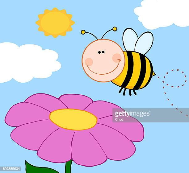 smiling bumble bee flying over flower - queen bee stock illustrations