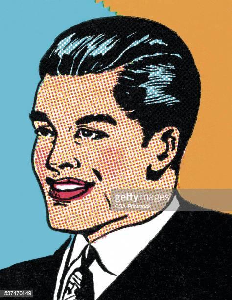 ilustrações, clipart, desenhos animados e ícones de sorridente empresário - portfolio