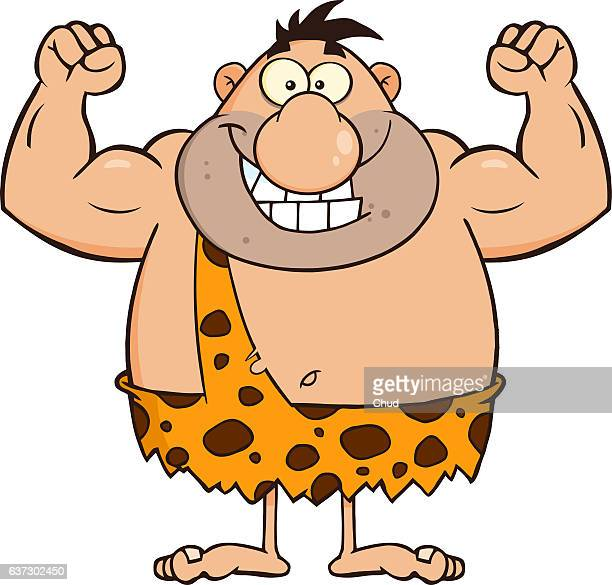 Smiling Caveman Cartoon Character Flexing