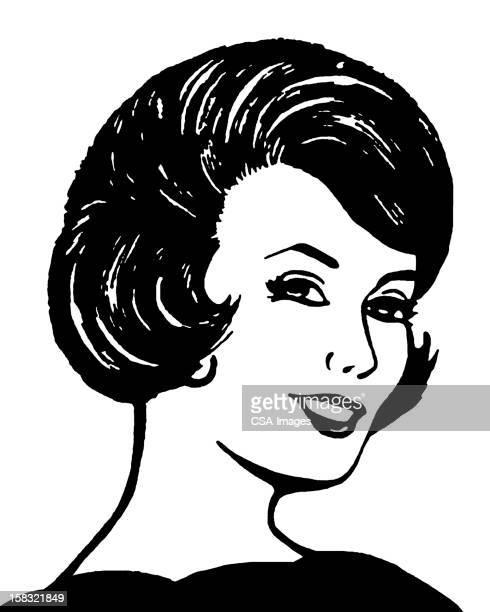 ilustraciones, imágenes clip art, dibujos animados e iconos de stock de sonriente mujer de pelo oscuro - mujeres de mediana edad