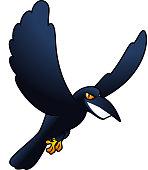 Smiling evil Spooky horror flying carrion raven Crow bird