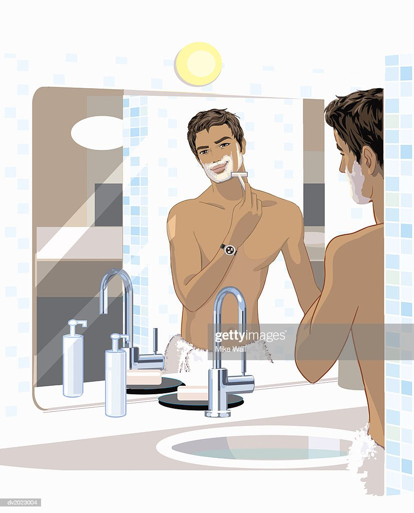 Smiling Man Looking Into His Bathroom Mirror and Shaving Himself : Stock Illustration