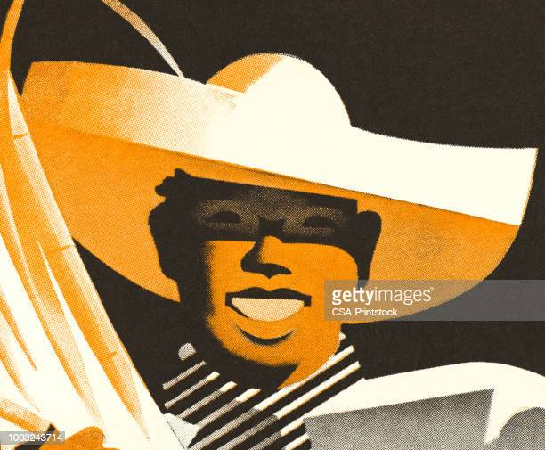 smiling man wearing a hat - sombrero stock illustrations