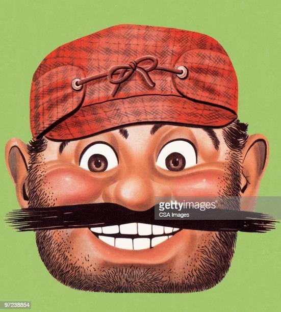 illustrations, cliparts, dessins animés et icônes de smiling man with mustache - chasseur