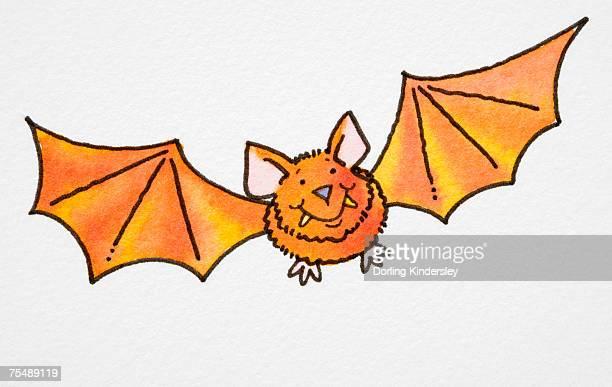 Smiling orange cartoon bat in flight, front view