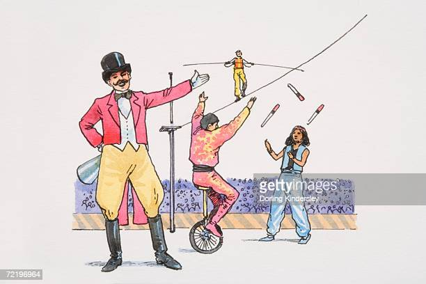 smiling ringmaster in circus ring pointing to acrobats juggling, walking tightrope and balancing on unicycle. - unicycle stock illustrations, clip art, cartoons, & icons