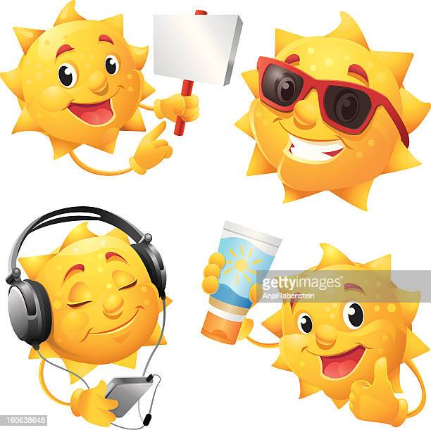 smiling summer sun cartoon character with cool sunglasses - sunglasses stock illustrations, clip art, cartoons, & icons