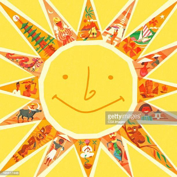 ilustraciones, imágenes clip art, dibujos animados e iconos de stock de sonriendo sol - sol en la cara