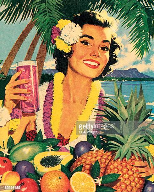 Smiling Woman and Tropical Fruit