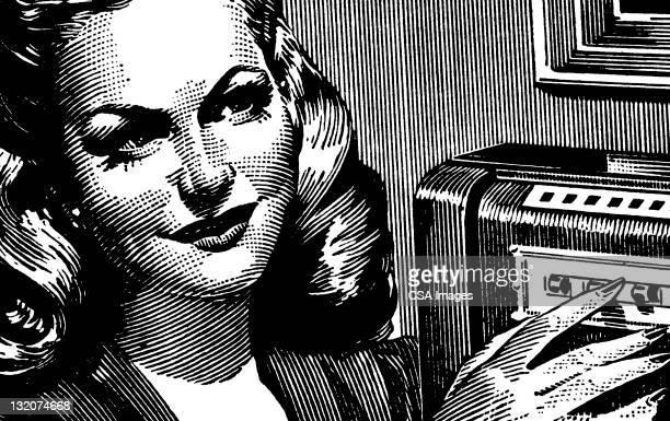 ilustraciones, imágenes clip art, dibujos animados e iconos de stock de mujer sonriente - mujer escuchando musica