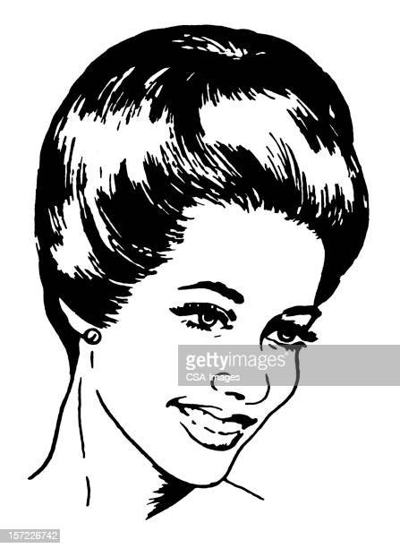 smiling woman - updo stock illustrations, clip art, cartoons, & icons