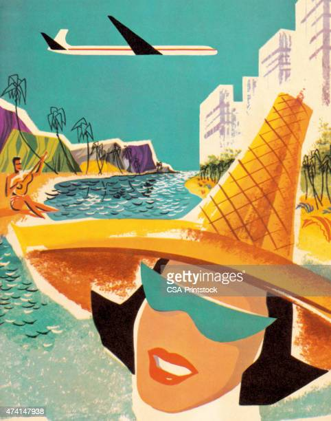 smiling woman wearing hat - tourist resort stock illustrations, clip art, cartoons, & icons