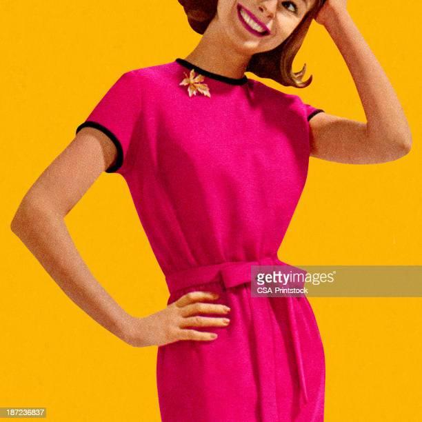 Smiling Woman Wearing Pink Dress