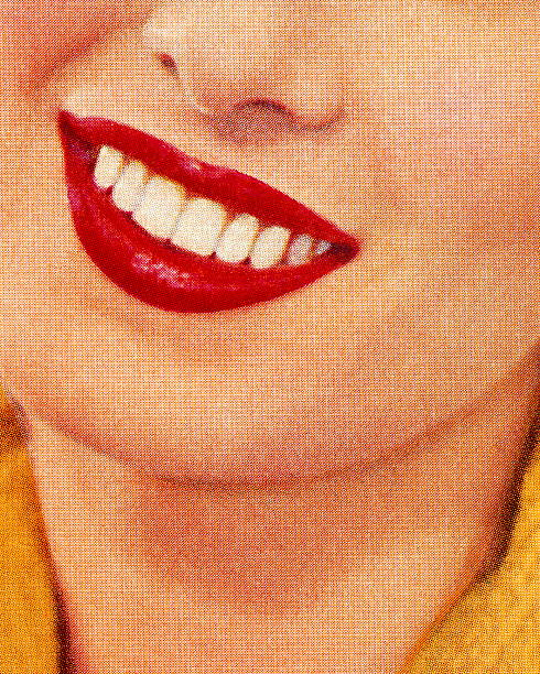 smiling woman wearing red lipstick - lips stock illustrations