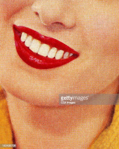 smiling woman wearing red lipstick - close up stock illustrations