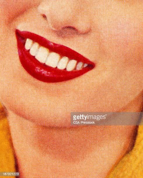 lächelnde frau mit roten lippenstift - attraktive frau stock-grafiken, -clipart, -cartoons und -symbole