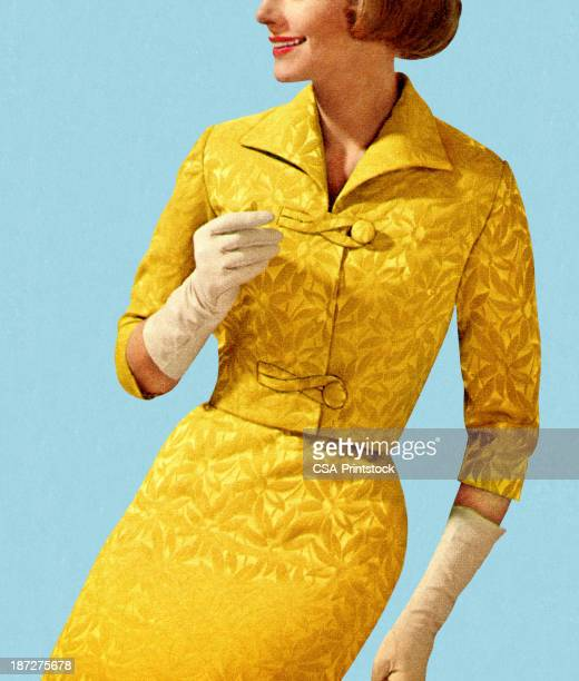smiling woman wearing vintage yellow suit - yellow dress stock illustrations