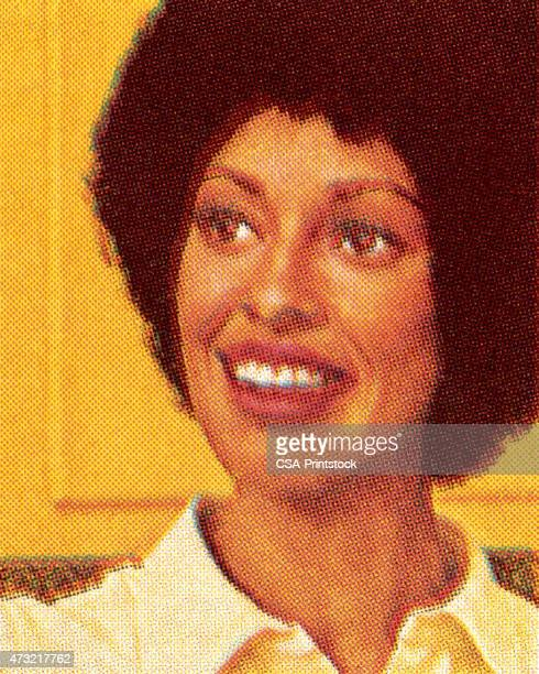 smilng african american woman - african american woman stock illustrations, clip art, cartoons, & icons