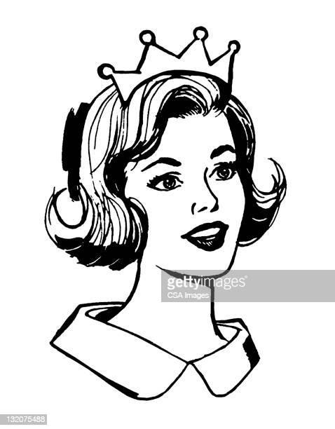ilustraciones, imágenes clip art, dibujos animados e iconos de stock de smilng woman wearing crown - reina de belleza