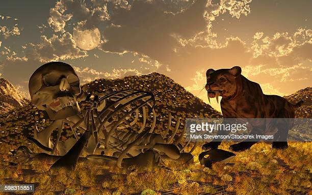 A Smilodon saber-toothed cat discovers human remains.