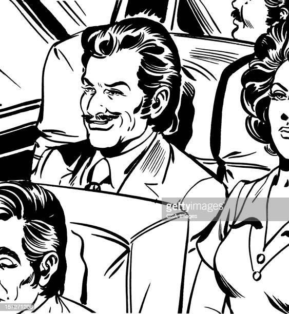 Smirking Man on Bus or Airplane