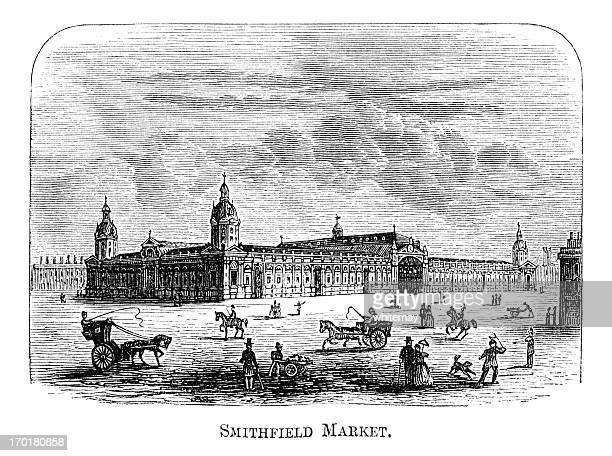 smithfield マーケット、ロンドン(1871 彫り込み - 1870~1879年点のイラスト素材/クリップアート素材/マンガ素材/アイコン素材